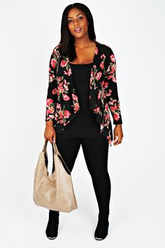 Yoursclothing Plus Size Womens Floral Waterfall Cardigan at Amazon Women's Clothing store: