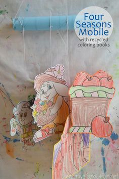 Four Seasons Mobile with Recycled Coloring Books ~ Creative Family Fun