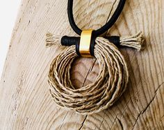 Boho Chic Long Rope Necklace Rustic Pendant by myTotalHandMade