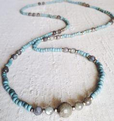 Image of #100372 - Simple Layering Necklace - Aqua Seed Beads with Labradorite Gemstones