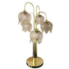 1980s Hollywood Regency Art Deco Brass & Glass Tulip Lamp | Chairish