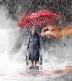 by Florynda del Sol ღ☀¨✿ ¸.ღ Lisa Aisato Art And Illustration, Cozy Rainy Day, Figurative Kunst, Dream Pictures, Umbrellas Parasols, Helping Hands, Hand Art, Whimsical Art, Book Art