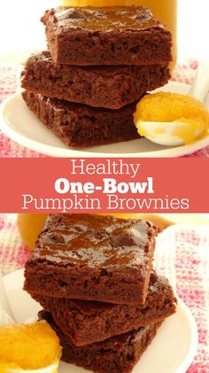 One-Bowl Healthy Pumpkin Brownies Recipe. This easy and healthy fall dessert takes just 30 minutes and one bowl to make! The brownies are so rich and fudgy, you'd never know they're just 85 calories each. I still can't believe it and I make a batch of the