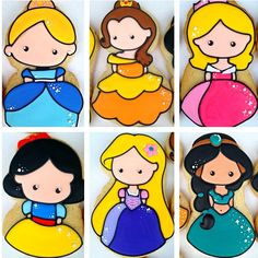 Closer, clearer look. #decoratedcookies #disneyprincesses #jasmine #aladdin #snowwhite #aurora #sleepingbeauty #cinderella #beautyandthebeast #belle #disney #princess #butterwinks