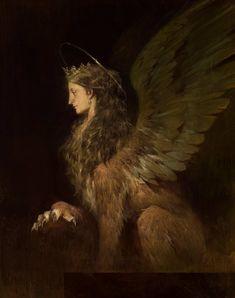 Sphinx majesty👑 Art by Betty Jiang Desenhos Halloween, Le Sphinx, Wow Art, Mythical Creatures, Folklore, Dark Art, Art Inspo, Fantasy Art, Concept Art