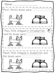 """FREE Pete the cat color sequencing activity for the story Pete the Cat """"I Love My White Shoes""""."""