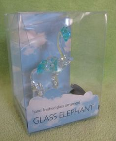 Glass Clear & Blue Elephant With Trunk Raised Blue Heart On Mirror NIP 3""