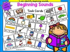This is a set of 200 self-checking clip-it task cards for beginning sounds.  Each card features a picture and three letter choices. Students will isolate the beginning sound in the picture's word and clip the letter representing that sound. Answer key is included for students to check their answers.Simply print on cardstock, cut out, and laminate.