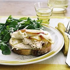 Open-Face Turkey, Brie, and Nectarine Sandwiches with Arugula Salad Recipe | MyRecipes.com Mobile