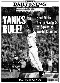 2000 Yankees winning world series newspaper