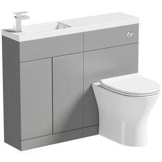 Mode MySpace Slim stone grey combination with Compact round toilet Bathroom Wall Decor, Bathroom Furniture, Bathroom Storage, Small Bathroom, Bathroom Ideas, Bathroom Interior, Bathroom Stuff, Family Bathroom, Bathroom Designs