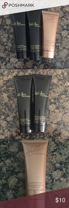 Rihanna Reb'l fleur and Halle Berry fragrance Rihanna body wash and body lotion 3 oz each. Halle Berry body wash 2.5 oz. All bottles are unused Rihanna Other