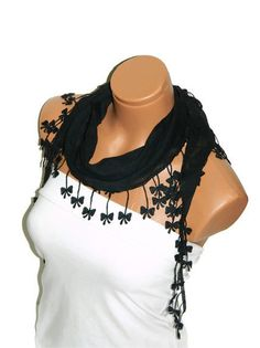 Personalized Design black Scarf Turkish Chiffon by WomanStyleStore, $14.00