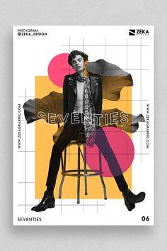 # fashion graphic design Seventies Poster Design Collection 06 Minimalist Graphic Design Inspiration by Zeka Design Minimalist Graphic Design, Fashion Graphic Design, Graphic Design Projects, Graphic Design Posters, Graphic Design Typography, Graphic Design Inspiration, Vintage Design Poster, Cool Poster Designs, Fashion Typography