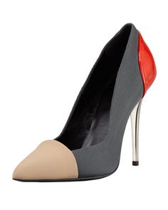 Single Sole Pointed Pump, Grey/Red/Tan by Proenza Schouler at Bergdorf Goodman.