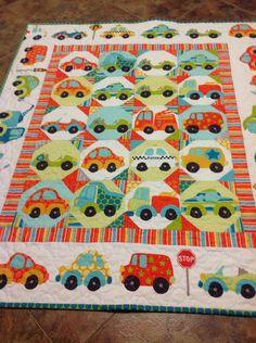 Peak Hour Crib Quilt -- baby boy, cars, transportation, blue, orange, red