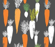 carrot_merged_spot fabric by canigrin on Spoonflower - custom fabric Food Patterns, Textile Patterns, Textile Design, Print Patterns, Vegetables Garden, Veggies, Design Repeats, Salad Bar, Decorating Coffee Tables