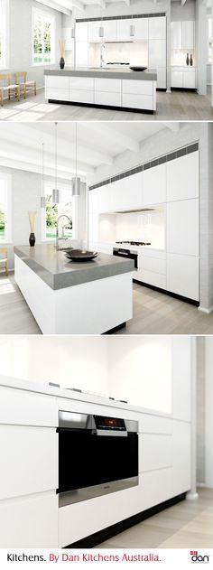 Limed oak floors, white doors and neutral/slightly warm colour scheme give this kitchen a sense of Scandinavia. #DanKitchensAus #ScandinavianInterior