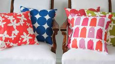 colorful graphic geometrical throw pillows