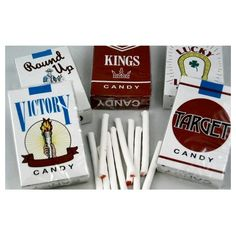 Candy-Flavored Cigarettes Are Officially Banned, Drug-Themed Candy... ❤ liked on Polyvore featuring filler