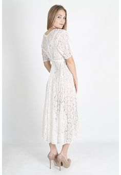 Vintage 80s Sheer White Floral Lace Dress Boho by americanarchive