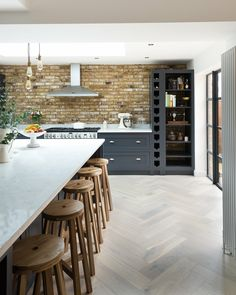 Blue kitchen light floor
