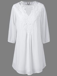 Plus Size Crochet Splicing Dress