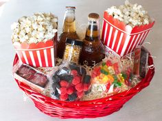 movie night basket-   Christmas Gift Baskets | Easy Crafts and Homemade Decorating & Gift Ideas | HGTV