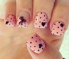Heart Nail Designs Pretty in pink nail art. Polka dots, bows, and hearts ❤️Pretty in pink nail art. Polka dots, bows, and hearts ❤️ Heart Nail Art, Dot Nail Art, Pink Nail Art, Polka Dot Nails, Heart Nails, Pink Nails, Polka Dots, Nail Art Bows, Pink Manicure