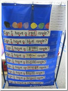 I am inspired to make a pocket chart center this year- I have never committed to doing one properly- but I have a new sight word poetry book that should lend itself well to pocket chart activities! Kindergarten Language Arts, Kindergarten Literacy, Kindergarten Apples, Preschool Apples, Preschool Themes, Apple Activities, Literacy Activities, Apple Unit, Literacy Stations