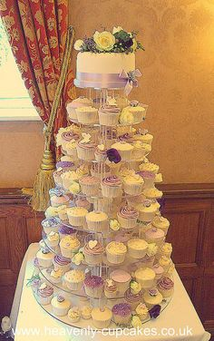 Lavender & Purple Cupcake Tower-Whitley Hall by Heavenly-Cupcakes, via Flickr