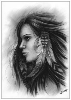 Charcoal Drawing Ideas She with the feathers Native Indian Girl Woman Art Print Glossy Zindy Nielsen - This is a beautiful glossy print with my drawing; She with the feathers. American Indian Girl, Native American Women, Native American Indians, Indian Women Tattoo, Indian Girl Tattoos, Tribal Tattoos, Native Indian, Native Art, Indian Art