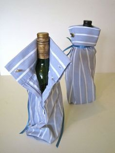 Wrap a bottle of wine in a DIY bag made from the sleeve of a shirt and ribbon bow ;) Cute!