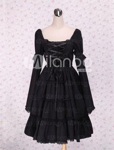 Cotton Black Lace Cotton Cosplay Lolita Dress - Milanoo.com