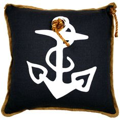 Classic Navy, White, and Gold Nautical themed pillow for a boy's room.