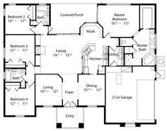 Mediterranean Style House Plan - 4 Beds 3 Baths 2140 Sq/Ft Plan #417-198 Floor Plan - Main Floor Plan - Houseplans.com