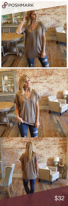 """Taupe V neck boyfriend tee Most popular style, front Pocket. Modeling size small.  96% rayon 4% spandex.  Bust laying flat: S 21"""" M 22"""" L 23"""", length S 29"""" M 30"""" L 31"""". Add to bundle to save when purchasing. FC900602 Tops Tees - Short Sleeve"""
