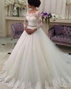 Customized Wedding Dresses Three Quarter Lace Vestido De Noiva Elegant  Casamento Robe De Mariage Beaded Sash 67f88a8d3d61