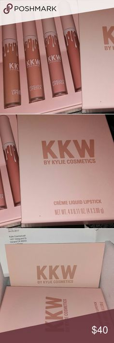 BNIB LE KKW By Kylie Cosmetics Set of 4 Creme Liqu Brand new, never used or swatched, limited edition, KKW By Kylie Cosmeticcs Set of 4 Creme Liquid Lipsticks!  Includes Kimberly, Kim, Kiki, and Kimmie.   A must have for any beauty lover!! Comes with receipt! Guaranteed authentic. Never used, never swatched.  Please contact me with questions. No trades! No returns! I do bundle items as well. Happy Shopping!  #kylie #kyliecosmetics #kkw #liquidlipsticks #kim #kimberly #kiki #kimmie #abh…
