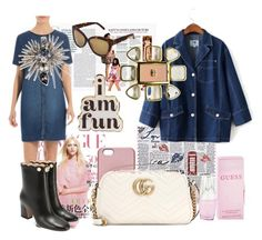 """""""A FAN OF DENIM AND PINS"""" by m-kints ❤ liked on Polyvore featuring SnapLight, ban.do, Gucci, Chanel and Oscar de la Renta"""