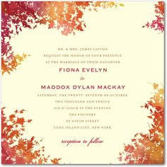 Falling leaves Wedding Invitation Autumn | Falling leaves
