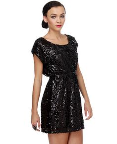 Black Sequin Dress - NYE style.
