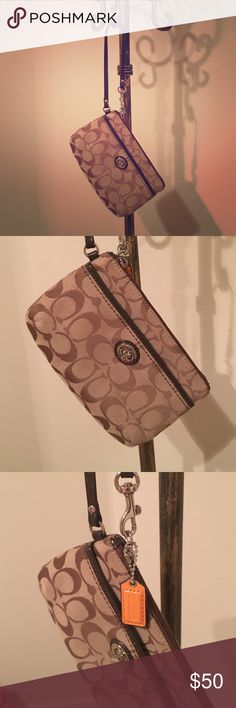Coach corner zip, signature fabric wristlet Approximately 7 1/2 by 5 inches. Great condition. One tiny stain as shown in picture. Used once. No stains in interior, no rips or tears on any part of the bag. Wristlet handle is in pristine condition. All hardware on bag is perfect. Outer pocket with turn know closure. Spacious interior with credit card pocket. Bundle for more discounts 😊👍🏻🎉 Coach Bags Clutches & Wristlets