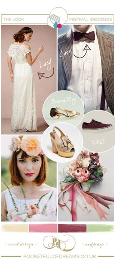 Festival Wedding Bridal Inspiration Board by www.pocketfulofdreams.co.uk