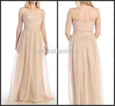 Wholesale Elegant Sweetheart Neckline A Line Floor Length Pleated Top Nude Champagne Chiffon Bridesmaid Dresses Evening Gowns, Free shipping, $85.0/Piece | DHgate