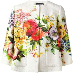 Dolce & Gabbana Quilted Floral Jacket found on Polyvore
