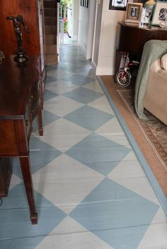 Hall floor painted in Oval Room Blue & Blue Gray Floor Paint by Farrow & Ball Hall Flooring, Grey Flooring, Floor Design, House Design, Oval Room Blue, Painted Floors, Painted Osb, Stenciled Floor, Floor Cloth
