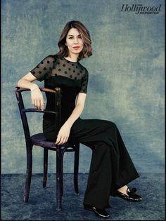 Black pants, sheer top black top - Sofia  Coppola