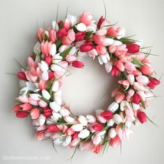 This stunning tulip wreath will add a burst of spring to your front door. You'll get all the compliments, and your friends won't believe that you made it yourself! Its actually quite simple to make, no crafty skills required...