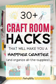 31 Craft room organization ideas that will help organize all-the-supplies! Diy ideas like ikea hacks, sewing closet, craft cabinet, dollartree pegboard organization items and more. Learn how to organi Craft Shelves, Craft Cabinet, Craft Room Storage, Storage Ideas, Craft Rooms, Ikea Hacks, Organizing Hacks, Paper Organization, Diy Hacks